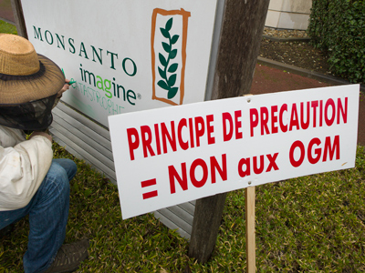 "French beekeepers demonstrate to protest the use of genetically-modified organisms in front of French Monsanto headquarters in Bron. Sign reads, ""Principle of Precaution = No to GMO"". (Reuters / Robert Pratta)"