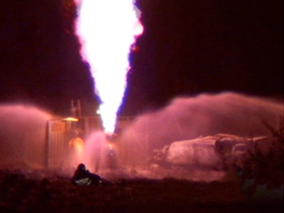Car crash sets gas pipeline on fire