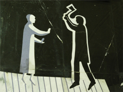 "Rodion Raskolnikov (""Crime and Punishment"") wields an axe at the old