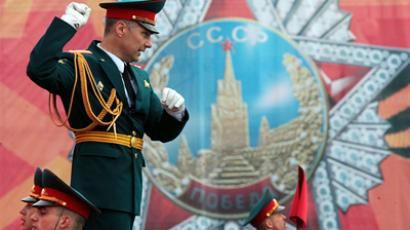 The conductor of combined the military orchestra during the final rehearsal of Victory Day parade on the Red Square in honor of the 66th anniversary of the Soviet victory in World War II (RIA Novosti / Alexey Danichev)