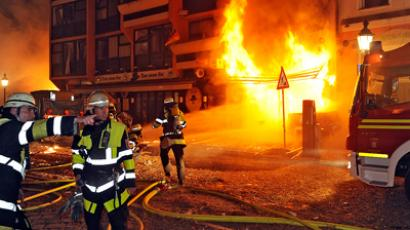 A Munich firefighter handout picture shows fire in downtown Munich August 28, 2012. Bomb experts made a controlled detonation of a 250 kilo World War II bomb on Tuesday night, after they decided they could not defuse it. (REUTERS/Handout)