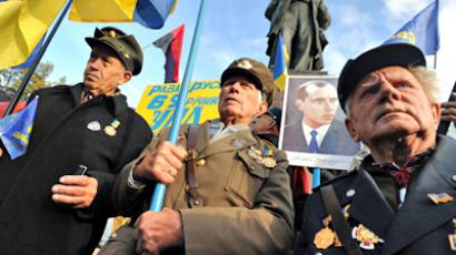 Nationalists rallying to celebrate UPA's 69th anniversary (Ria Novosti / Andrey Voloshin)