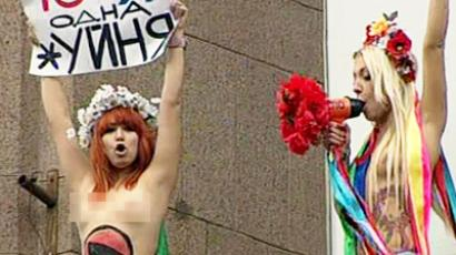 FEMEN activists protest near Kiev court