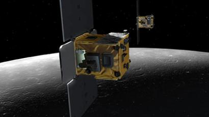 An artist's depiction of the twin spacecraft (Ebb and Flow) that comprise NASA's Gravity Recovery And Interior Laboratory (GRAIL) mission. (Image from http://www.nasa.gov)