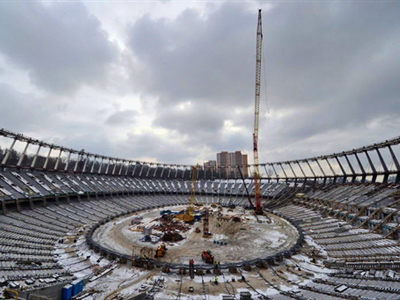Ukraine: A view of the construction site of Olympiyski stadium in Kiev on January 24, 2011. Poland and Ukraine will co-host the 2012 European Soccer Championship. (AFP Photo / Sergei Supinsky)