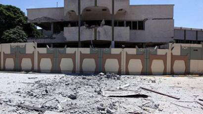 Tripoli: A picture taken during a government-guided tour on May 12, 2011 shows a damaged buildilng in Bab al-Aziziya in Tripoli, following NATO air strikes on Libyan leader Moamer Kadhafi's compound in which three people were killed, according to a government spokesman. (AFP Photo / Mahmud Turkia)