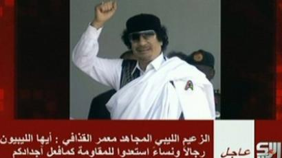 An image grab taken from the Syrian-based Arrai television shows a picture of Libyan leader Moamer Kadhafi as he allegedly gives an audio message from an undisclosed location on September 1, 2011 (AFP Photo / Arrai Television)