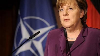 Berlin : German Chancellor Angela Merkel delivers a speech during a reception on the sidelines of an informal NATO Foreign Ministers Meeting in Berlin on April 14, 2011. (AFP Photo/ Berthold Stadler)
