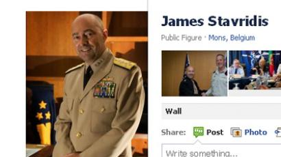 Snapshot of NATO commander James Stavridis's genuine page on Facebook (Image from facebook.com)