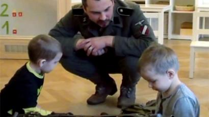 """Patriotic upbringing"" lesson at Pucite kindergarten in Riga."