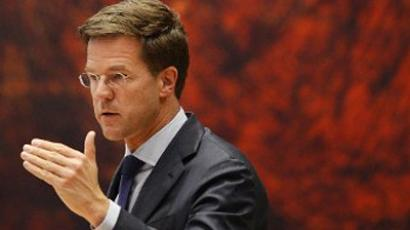Outgoing Prime Minister Mark Rutte gestures in the Parliament Building in The Hague, on April 24, 2012 (AFP Photo / Jerry Lampen)