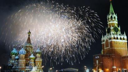 Fireworks explode over St. Basil cathedral on Red Square in Moscow (AFP Photo / DMITRY KOSTYUKOV)