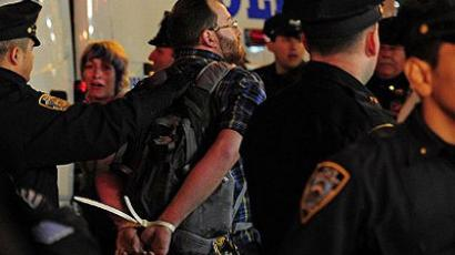 Occupy Wall Street participants are arrested after a protest on Times Square in New York. (AFP Photo/Emmanuel Dunand )
