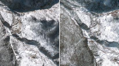 This combination of GeoEye Satellite Images captured January 4, 2013 (L) and January 23, 2013 shows the Punggye-ri nuclear test facility in North Korea (AFP Photo / GeoEye Satellite Image)