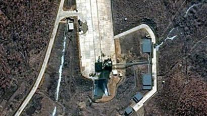 This DigitalGlobe satellite image obtained March 30, 2012, shows North Korea's recent announcement of its intentions to conduct a satellite launch during the middle of April which has focused the world's attention upon their Tongch'ang-ni Launch Facility on the nation's northwest coast (AFP Photo/DigitalGlobe)