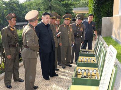 Kim Jong-Un during a visit to a sub unit of the Korean People's Army (AFP Photo / Kcna)