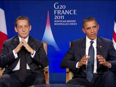 A TV grab made from French TV channel France 2 on November 4, 2011 shows US president Barack Obama (R) and his French counterpart Nicolas Sarkozy during their joint appearance for a pre-recorded interview at the end of the G20 meeting of Cannes (AFP Photo / France 2)