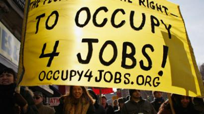 Protesters rally demanding jobs in New York, January 16, 2012 (Reuters / Eduardo Muno)