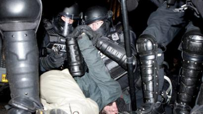 Portland, Oregon – December 3, 2011 – Portland police arrest a man during the Occupy Portland protest in Shemanski Park (Ray Whitehouse/The Oregonian)