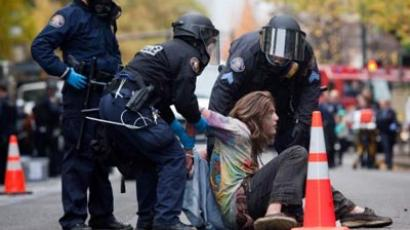 A young protester is arrested near the Occupy Portland encampment November 13, 2011 in Portland, Oregon. (Natalie Behring/Getty Images/AFP)
