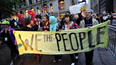 US, New York : Members of Occupy Wall Street on October 14, 2011. (AFP Photo / Emmanuel Dunand)