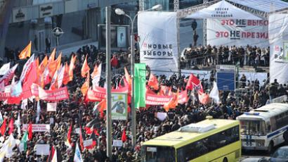 Polise say up to 10,000 people have attended a sanctioned meeting on Novy Arbat on Saturday afternoon