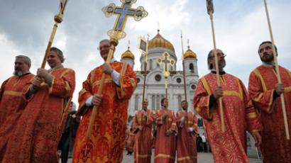 Procession and prayer standing in defense of the faith, desecrated shrines, the Church and its good name (RIA Novosti / Ramil Sitdikov)