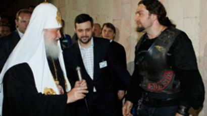 "Patriarch Kirill and Aleksandr Zaldostanov, who's better known by his nickname """"Surgeon"" (Photo from site www.patriarchia.ru)"