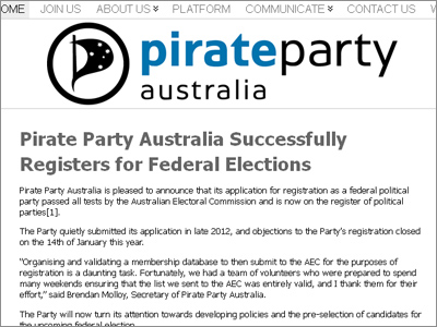Pirate Party Australia becomes official