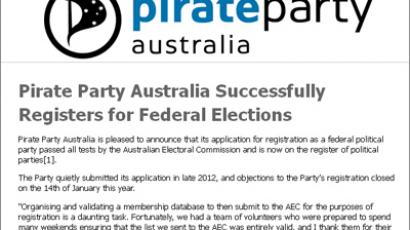 Screenshot from http://pirateparty.org.au/