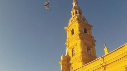 Base jumpers favor historic roofs of St. Petersburg's