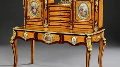 A Magnificent Bonheur du Jour of Exhibition Quality, In the Louis XVth Manner, and attributed to Holland & Sons (Butchoff Antiques)