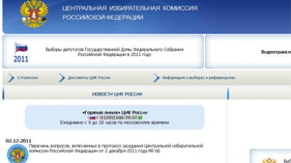 Official site of Russia's elections committee