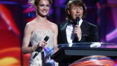 Top model Natalia Vodyanova and TV presenter Andrey Malakhov hosting the second semi-final dress rehearsal 
