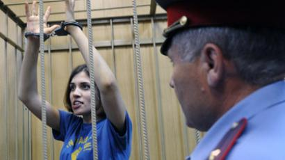 Nadezhda Tolokonnikova, a member of Pussy Riot punk band, at a hearing in the Moscow Tagansky Court. (RIA Novosti/Ramil Sitdikov)