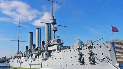 Legendary Bolshevik cruiser 'Aurora' flies Jolly Roger