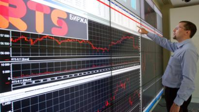 An employee in the RTS Stock Exchange office (RIA Novosti / Iliya Pitalev)