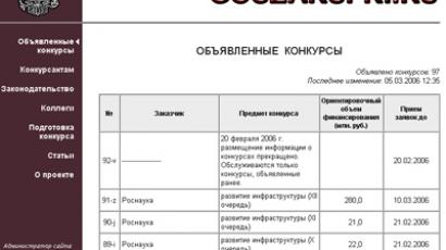 Russia's state purchase publishing portal