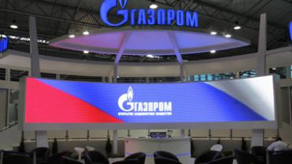 Preparing Gazprom's exhibit in the Lenexpo exhibition center for an international economic forum in St. Petersburg (RIA Novosti/Alexey Danichev)