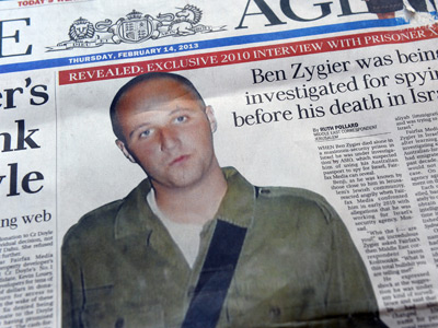Australian newspapers lead their front pages in Australia on February 14, 2013, with the story of Ben Zygier as Israel confirms it jailed a foreigner in solitary confinement on security grounds who later committed suicide, with Australia admitting it knew one of its citizens had been detained (AFP Photo / William West)