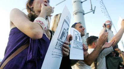 Activists in Minsk protest against rise of fuel prices. RIA Novosti /  Egor Eremov