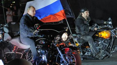 Prime-minister Vladimir Putin, left, and leader of the Night Wolves youth organization Alexander Zaldostanov also known as Surgeon at the 16th bike-festival in Novorossiysk (RIA Novoti / Yana Lapikova)