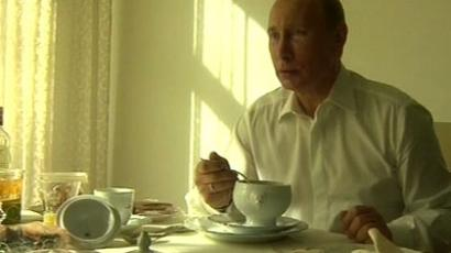 Putin having breakfast in his residence/ Screen shot from NTV channel
