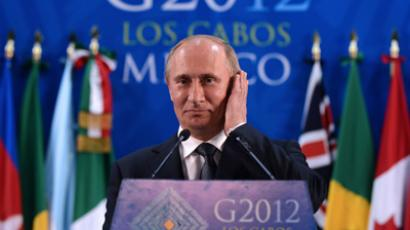 Russian President Vladimir Putin speaks during a press conference at the end of the G20 Summit of Heads of State and Government in Los Cabos, Baja California, Mexico on June 19, 2012 (AFP Photo / Jewel Samad)