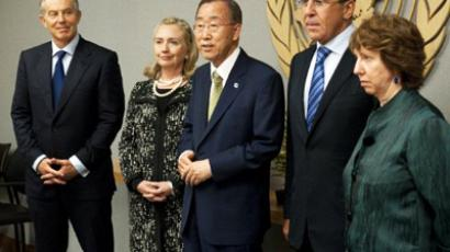 Quartet on the Middle East members, former British Prime Minsiter Tony Blair (L), US Secretary of State Hillary Clinton (2ndL), Russian Foreign Minister Sergei Lavrov (2ndR), and EU Commissioner Catherine Ashton (R) meet with United Nations Secretary-General Ban Ki-moon, at the United Nations during the General debate of the 66th General Assembly on September 23, 2011 (AFP Photo / HENNY RAY ABRAMS)