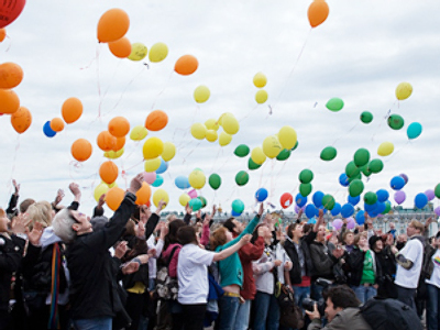 Rainbow-colored skies mark gay solidarity