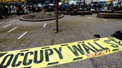 A nearly empty Zuccotti Park November 16, 2011 as some Occupy Wall Street protesters return to the park in New York after being evicted early November 15 (AFP Photo / Stan HONDA)