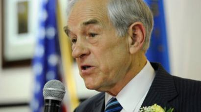 Republican presidential candidate, U.S. Rep. Ron Paul (R-TX) speaks at a U.S. Marines Leatherneck hall February 3, 2012 in Las Vegas, Nevada. Paul is hoping to pick up delegates in the Nevada GOP caucus on February 4. (Ethan Miller/Getty Images/AFP)