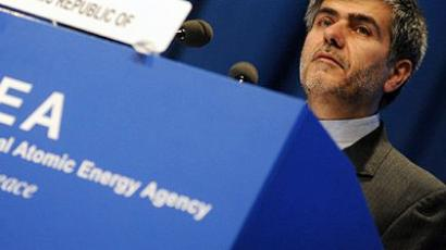 The head of the Iranian Atomic Energy Organization Abbasi Davani speaks during the 55th International Atomic Energy Agency (IAEA) General conference at the IAEA headquarters in Vienna. (AFP Photo/Samuel Kubani)