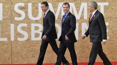 (L to R) Anders Fogh Rasmussen, Dmitry Medvedev and Jose Socrates Carvalho Pinto de Sousa  (AFP Photo / Pierre-Philippe Marcou)